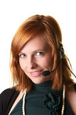 Business woman with a headphone — Stock Photo