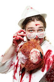 Butcher with blood — Stock Photo