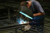 Welder in workshop — Stock Photo