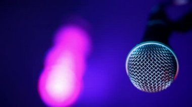Microphone and concert lights — Stock Video