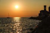 Sunset in Piran — Stock Photo