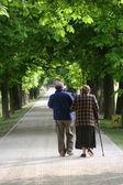 Seniors in a park — Stock Photo