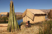 Floating vilige at lake Titicaca — Stock Photo