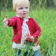 Baby girl holding small rowan branch in her hand — Stock Photo #42669677