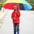 Постер, плакат: Boy walking on the street under umbrella on a rainy day