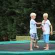 Brothers playing together outdoors on a trampoline — Stock Photo