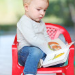 Baby girl reading children book about animals — Stock Photo