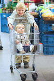 Boy drives shopping cart with his sister — Stock Photo