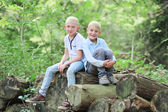 Boys twin brothers relaxing in natural environment — Stock Photo