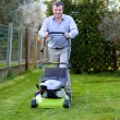 Man mowing the lawn in the backyard of his house — Stock Photo