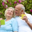 Senior couple drinking tea — Stock Photo