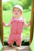 Toddler girl in sunhat — Stock Photo