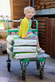 Little funny girl sitting in shopping cart at garden hypermarket — Stok fotoğraf