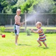 Brother and sister playing in the garden with watering hose — Stock Photo #47846289