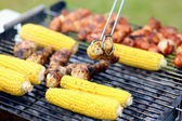 Assorted meat and vegetables on barbecue grill — Foto Stock