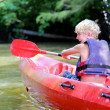 Active happy teenage boy kayaking on the river — Stock Photo #49922261