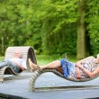 Senior couple relaxing in the park — Stock Photo #50240401
