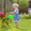 Cute toddler girl watering flowers in the garden — Stock Photo #50845673