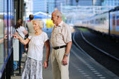 Senior couple waiting for train in railway station — Stock Photo