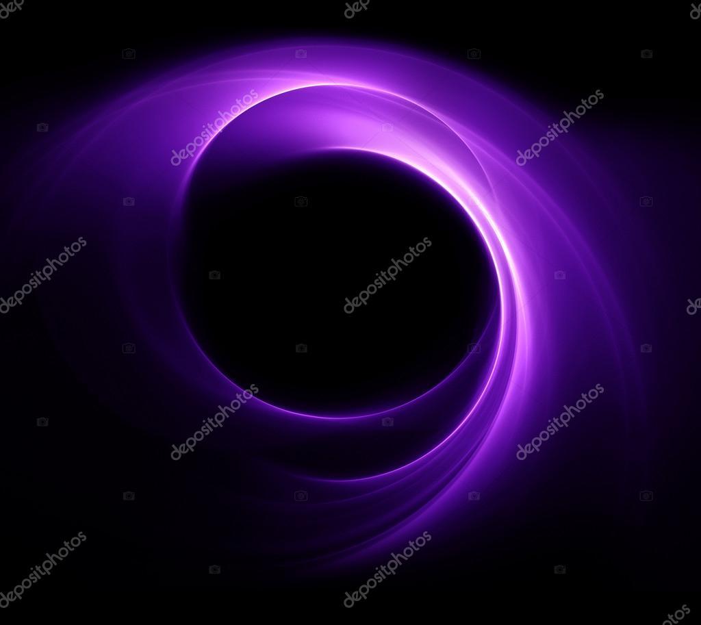 在黑色背景上的抽象紫色圆圈– 图库图片