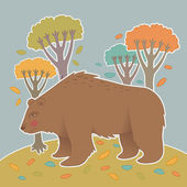 Illustration of bear in the autumn forest — Stock Vector