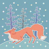 Illustration of fox in the winter forest — Stock Vector