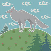 Illustration of wolf on a hilltop — Stock Vector