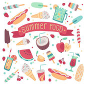 Set of summer food — Stock Vector