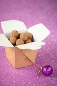 Chocolate Truffles in a brown box — Stock Photo