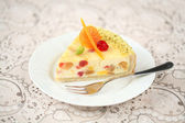 Piece of White Chocolate Cheesecake — Stock Photo