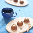 Chocolate Coffee Sweet Hearts — Stock Photo