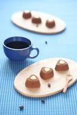 Chocolate Coffee Sweet Hearts — Stock Photo