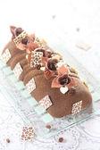 Coffee  Yule Log  Mousse Cake — Stock Photo