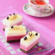White and Black Currant Mousse Cakes — Stock Photo