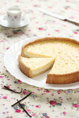 Vanilla Tart on a white plate — Stock Photo