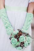 Nevěsta s květinami — Stock fotografie