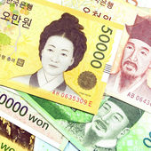 Current Use of South Korean Won Currency in Different value. — Stock Photo