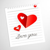 Love you message, Red Paper Hearts — Stock Vector
