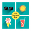 Vector summer icons. Flat design trend. Retro. — Stock Vector