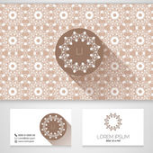 Flower symbol, business card template with seamless patterns,vector — Cтоковый вектор
