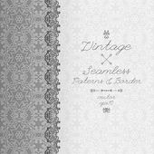 Vintage seamless background and border, invitation with lace, vector — Stock Vector