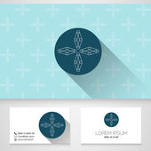 Flower symbol, business card template with seamless patterns,vector — Stok Vektör