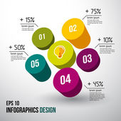 Abstract 3D digital illustration Infographic. Vector — Stock Vector