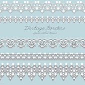 Set of horizontal lace borders, vintage vector — Vecteur