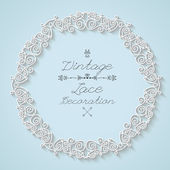 Vintage lace circle frames and border, vector — Stock Vector