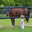 Baby girl playing with a horse on a farm — Stock Photo