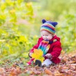 Little baby girl playing with autumn leaves — Stock Photo #43242385