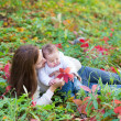 Mother and her baby daughter lying among red leaves — Stock Photo
