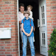 Boy leaving home for his first day back to school — Stock Photo #43245471