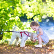 Baby girl playing with a dog — Stock Photo